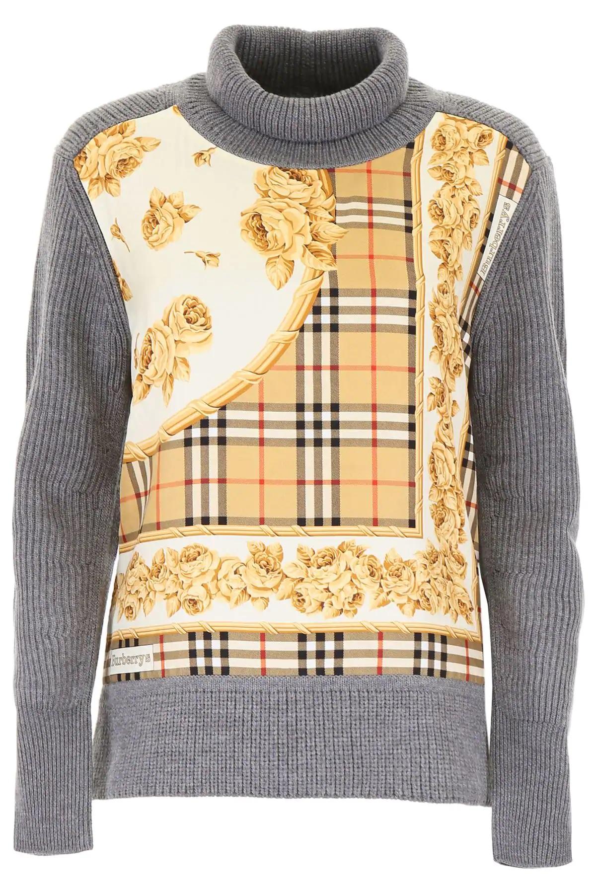 Burberry Ladies Scarf Print Turtleneck Sweater In Grey