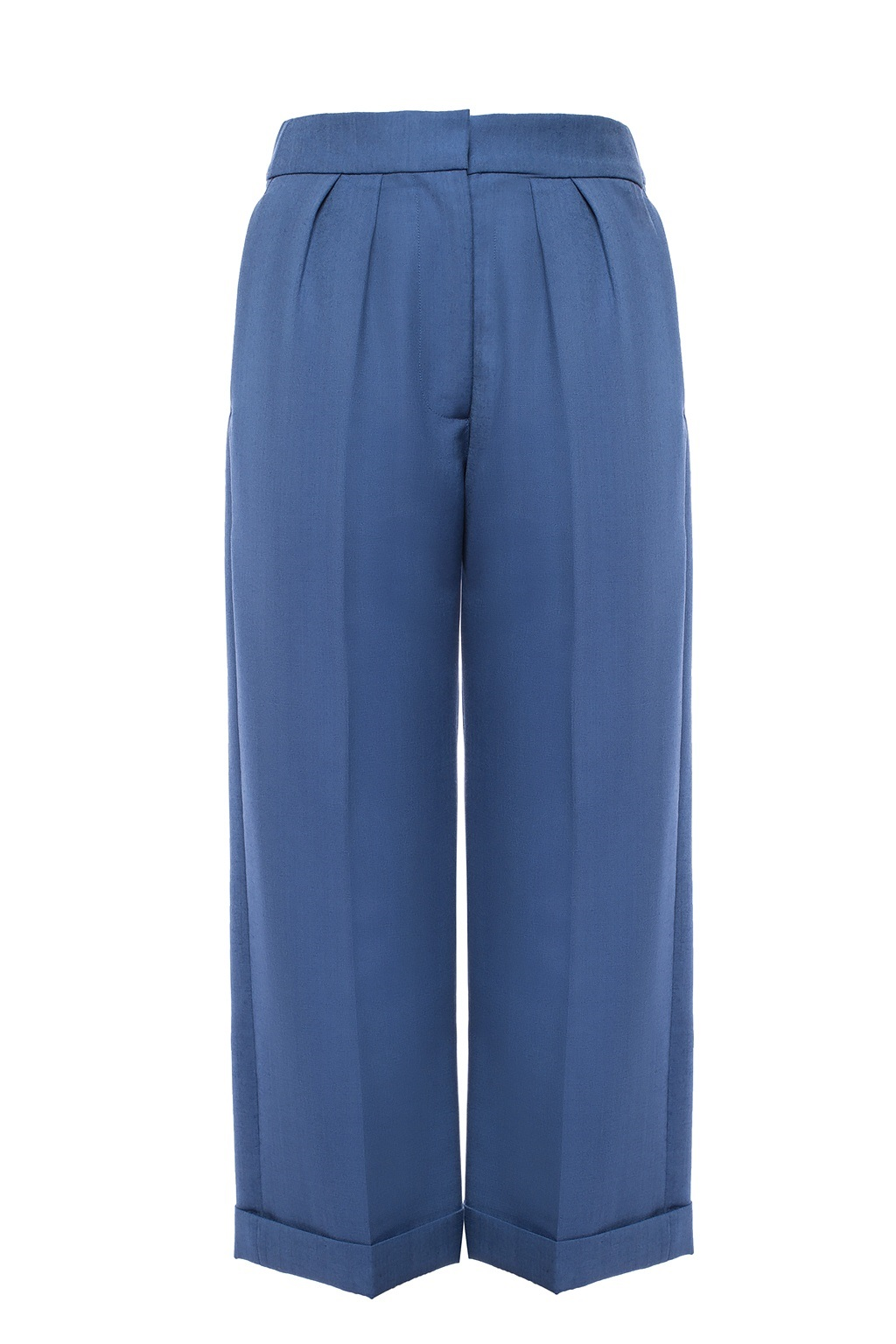 Burberry Wool Mohair Cropped Tailored Trousers In Blue