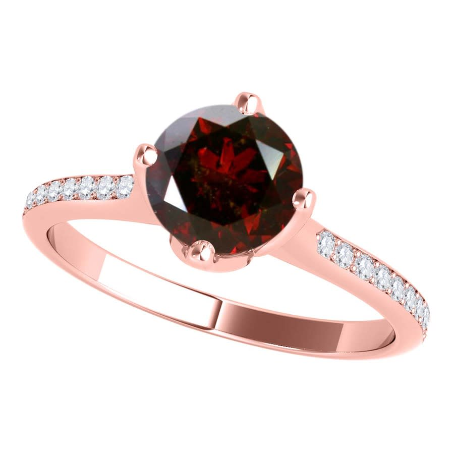 Maulijewels 1.15 Carat Natural Round Red Diamond Women Solitaire Engagement Ring In 14k Solid Rose Gold In Size  In Gold Tone,pink,red,rose Gold Tone,white