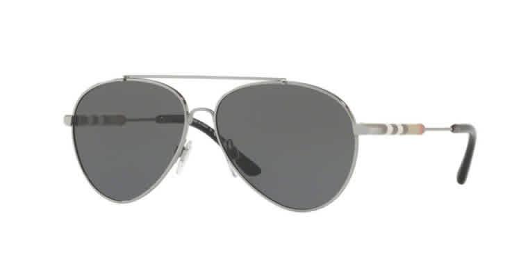 Burberry Grey Aviator Ladies Sunglasses Be3092q-100387-57 In Metallic