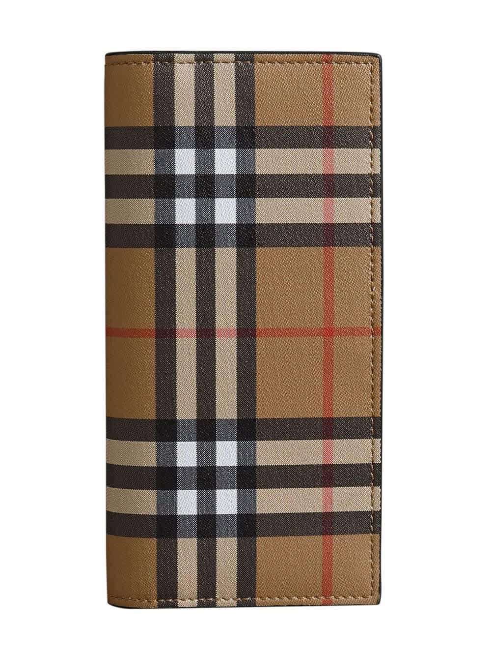 Burberry Vintage Check And Leather Continental Wallet In Neutrals