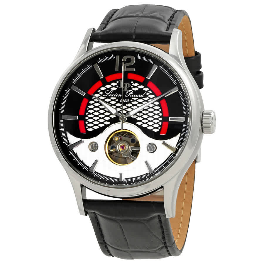 Lucien Piccard Transway Open Heart Automatic Mens Watch Lp-15038-01 In Black,silver Tone