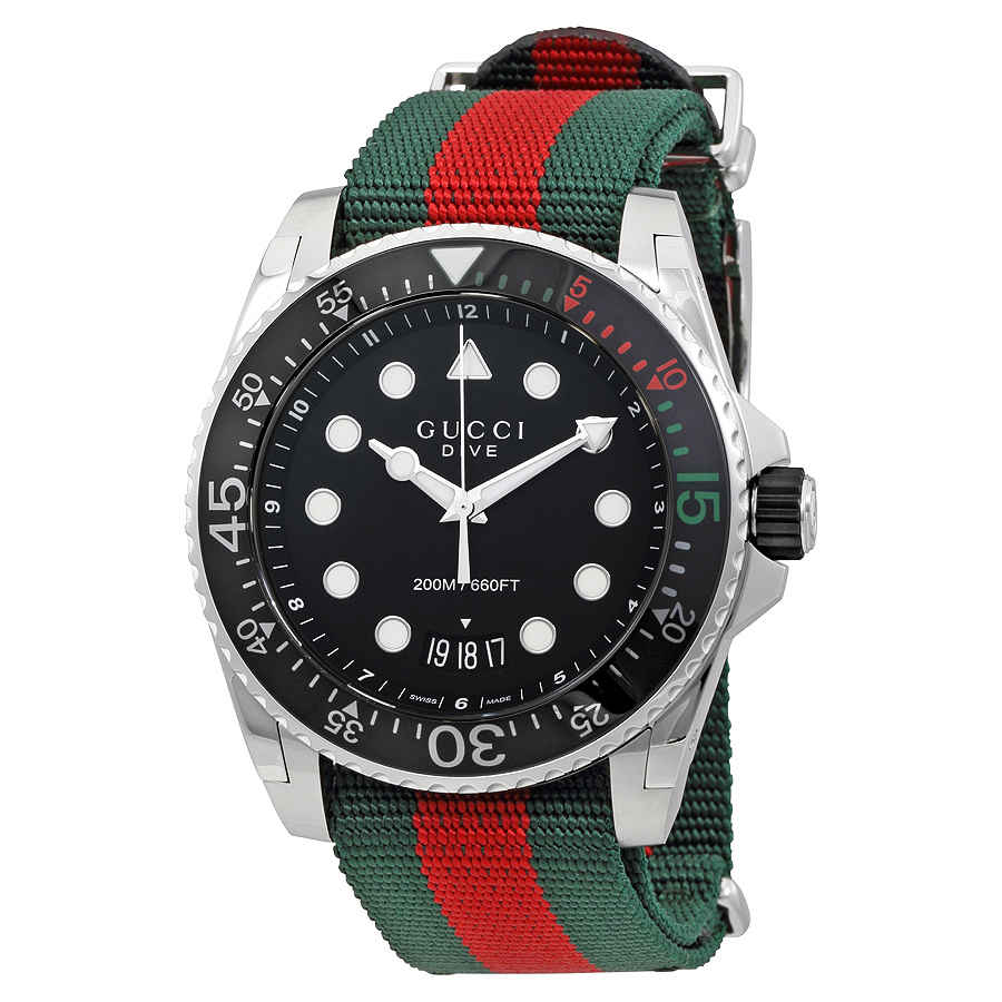 GUCCI DIVE BLACK DIAL GREEN AND RED NYLON MENS WATCH YA136209