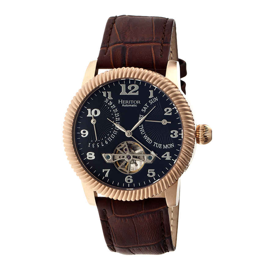 Heritor Piccard Automatic Black Dial Brown Leather Mens Watch Hr2006