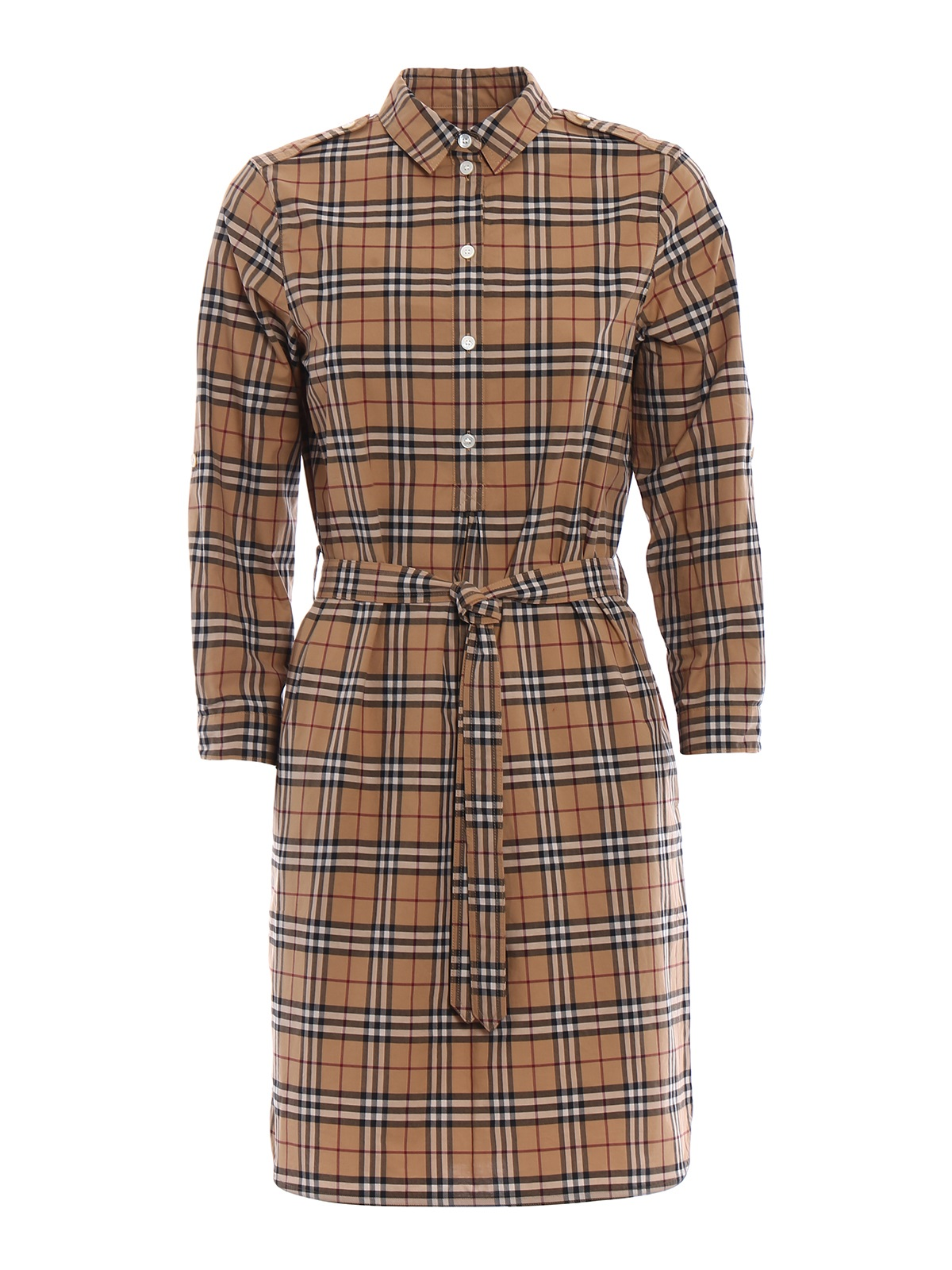 Burberry Kelsynt Tartan Print Shirt Dress In Yellow