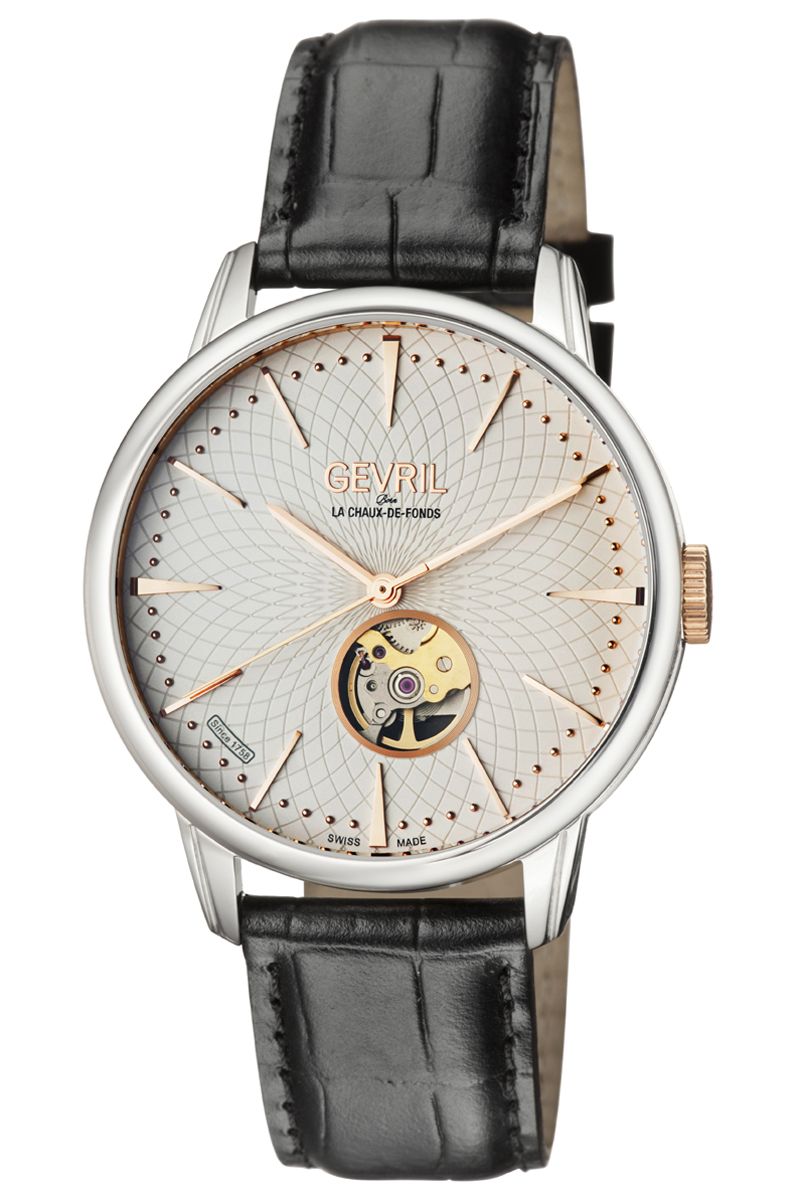Gevril Mulberry Open Heart Automatic Mens Watch 9601 In Black