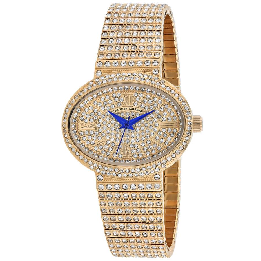 Christian Van Sant Sparkler Rose Dial Ladies Watch Cv0252 In Blue,gold Tone,pink,rose Gold Tone