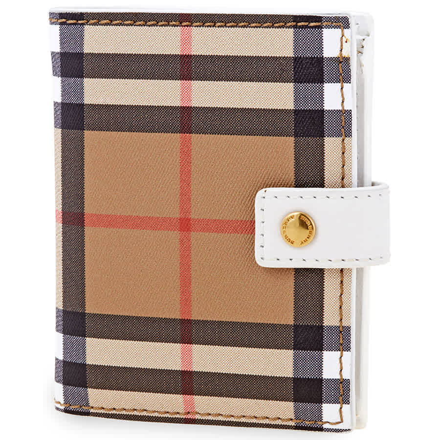 Burberry Vintage Check Folding Wallet In Brown,white