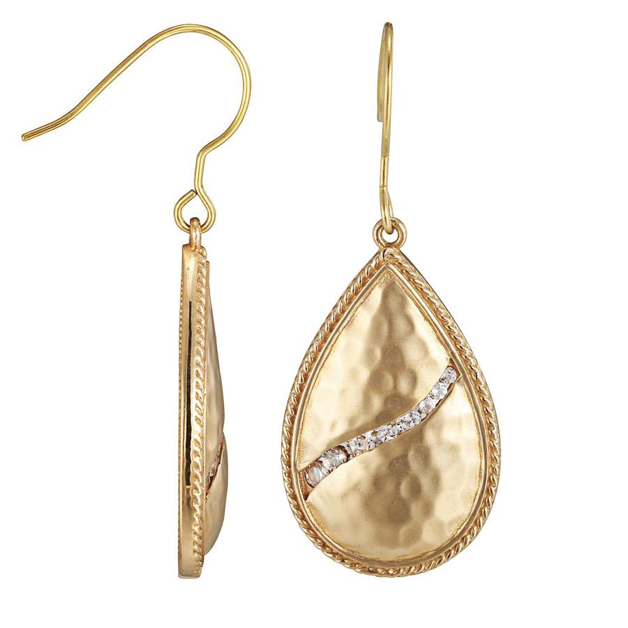 Envie Hammered Matte Bronze Genuine White Topaz Teardrop Dangle Earrings In Blue,brown,white
