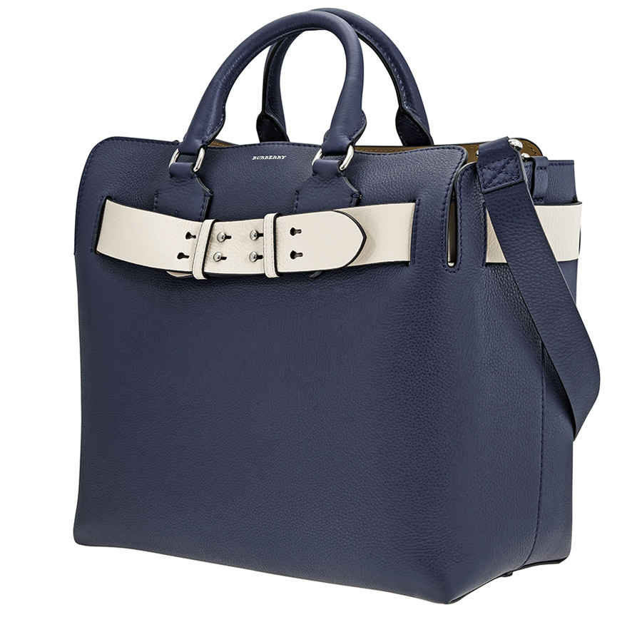 Burberry The Medium Leather Belt Bag In Blue,silver Tone
