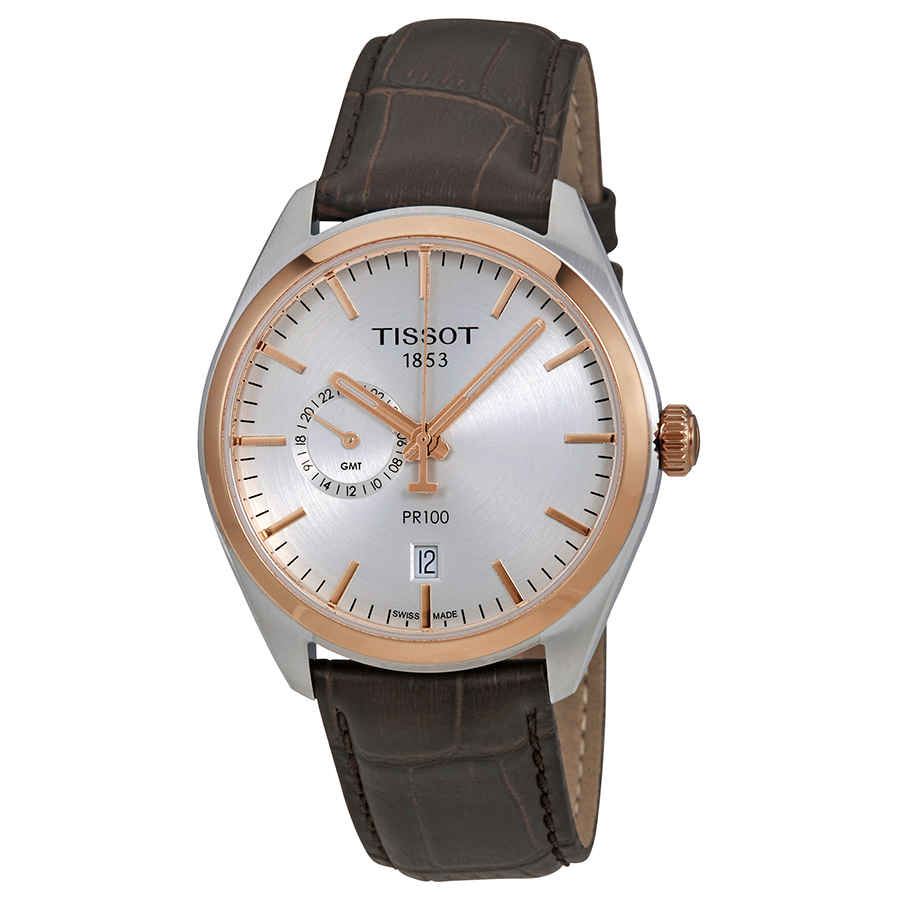 TISSOT PR100 SILVER DIAL MENS LEATHER WATCH T101.452.26.031.00