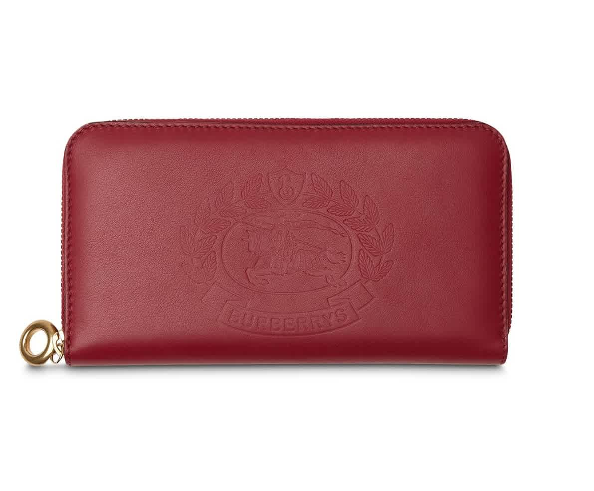Burberry Crimson Embossed Crest Two-tone Leather Ziparound Wallet In Red,two Tone