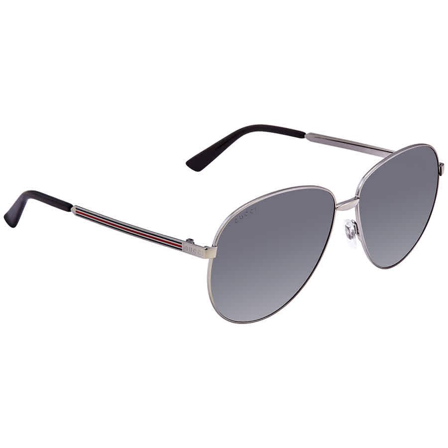 Gucci Silver Pilot Unisex Sunglasses Gg0138s 009 61 In Gray