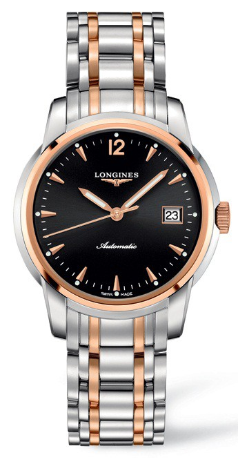 Longines The Saint-imier Black Dial Rose Gold Stainless Steel Automatic Mens Watch L2.763.5.52.7 In Metallic