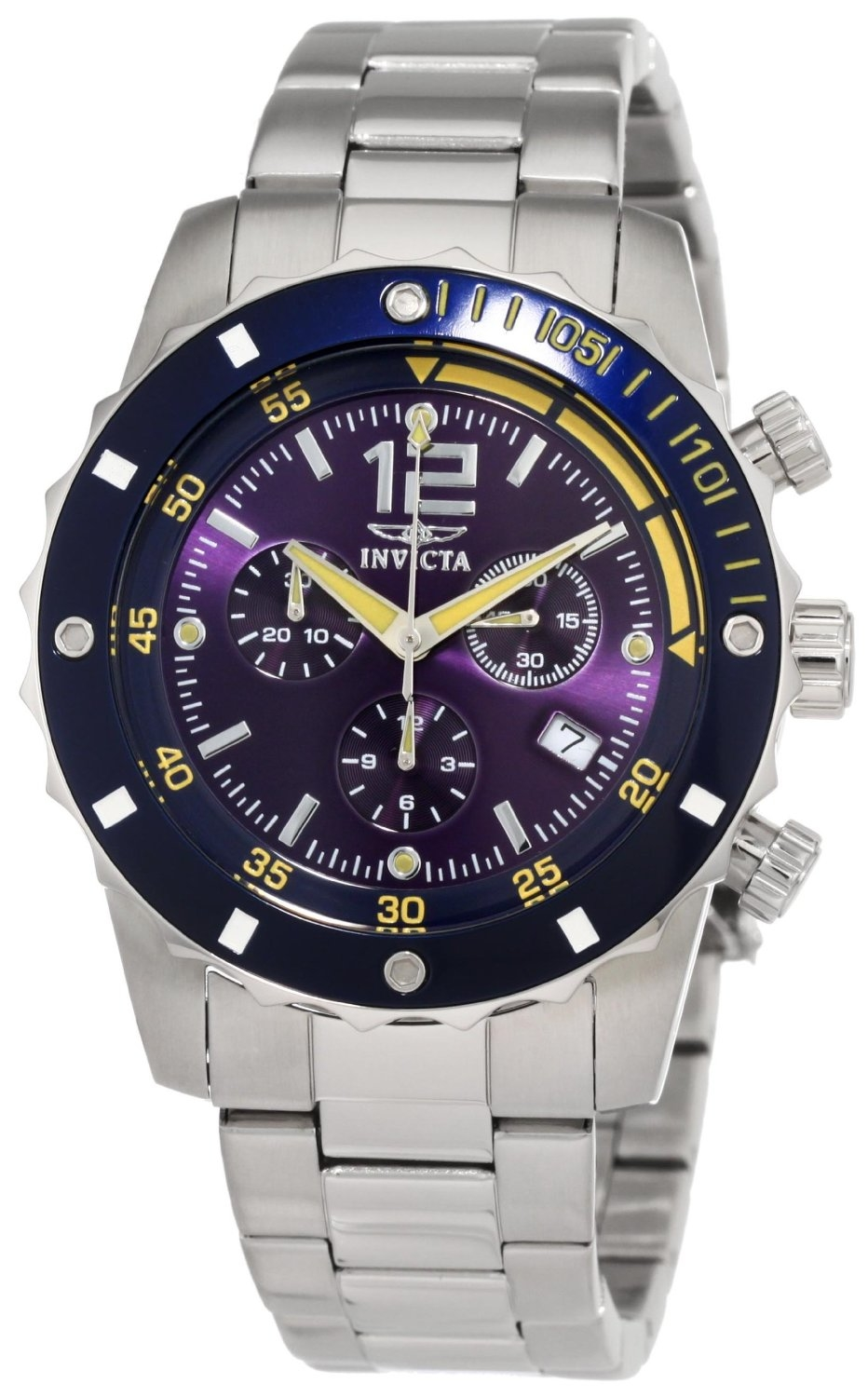 Invicta Ii Blue Dial Chronograph Blue Dial Stainless Steel Mens Watch 1246 In Metallic