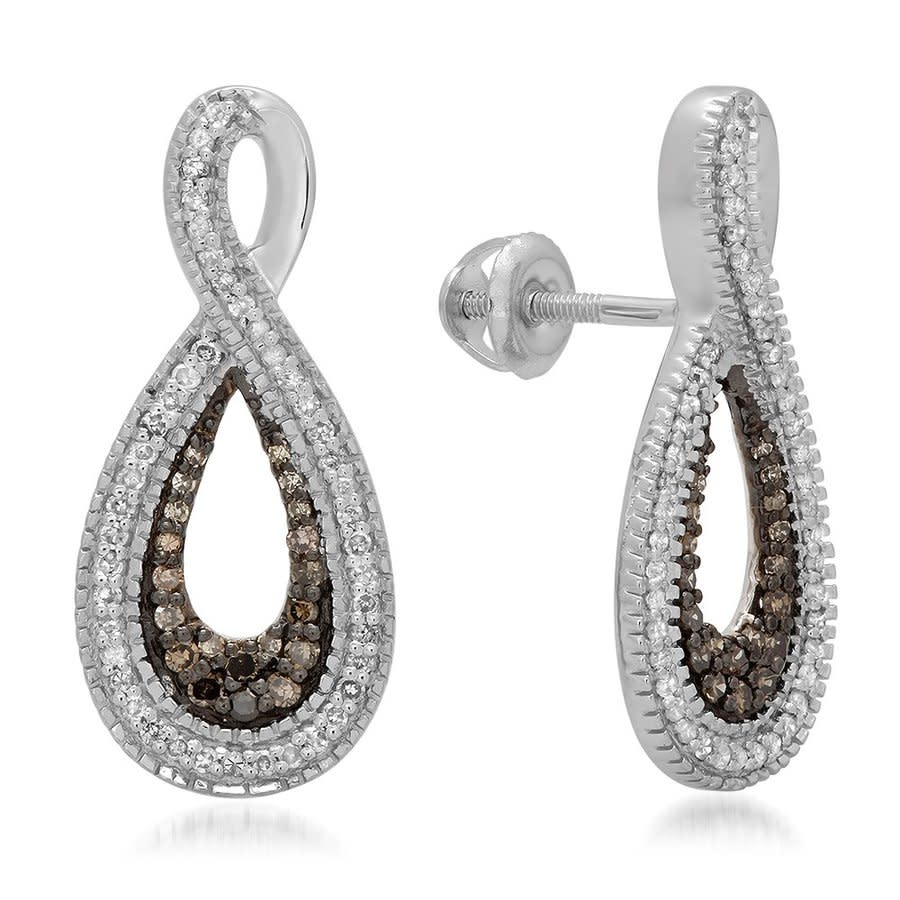 Dazzling Rock Dazzlingrock Collection 0.45 Carat (ctw) Champagne & White Diamond Ladies Infinity Loop Drop Earring In Beige,silver Tone,white