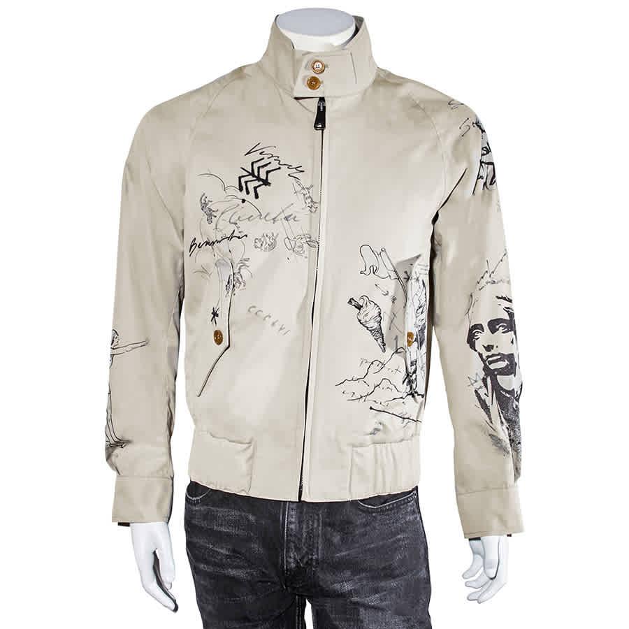 Burberry Mens Doodle Sketch Harrington Bomber Jacket In N,a
