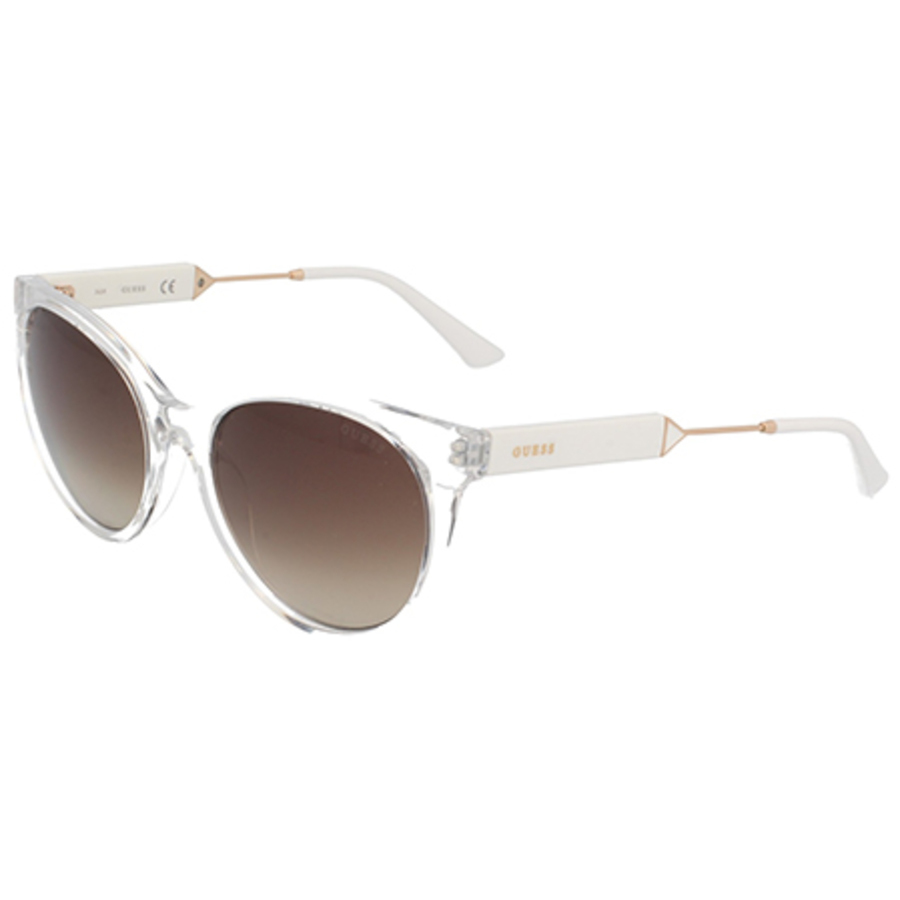 Guess Unisex White Cat Eye Sunglasses Gu761926g55 In Brown,white