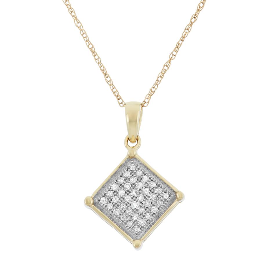 Hetal Diamonds 0.13 Cttw 10kt Yellow Gold Diamond Square Necklace Pd1604_y