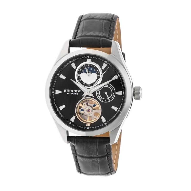 Heritor Sebastian Black Moonphase Dial Black Leather Strap Automatic Mens Watch Hr6902 In Black,silver Tone