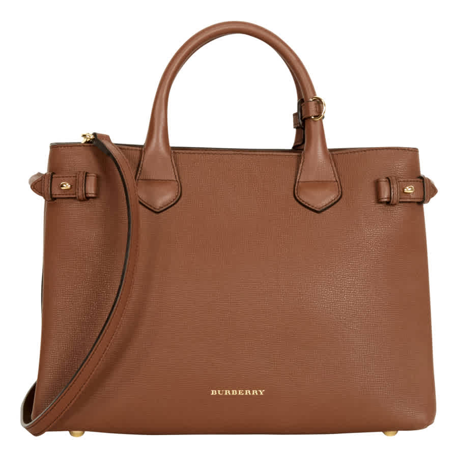 Burberry Medium Banner House Check Leather Tote - Tan In Brown