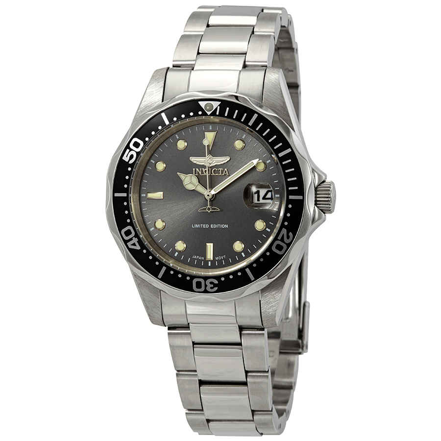 Invicta Pro Diver Charcoal Dial Stainless Steel Mens Watch Ile8932a In Metallic