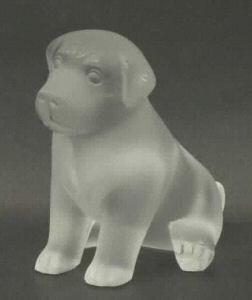 Lalique Crystal Sugar Seated Puppy 12152 In Black