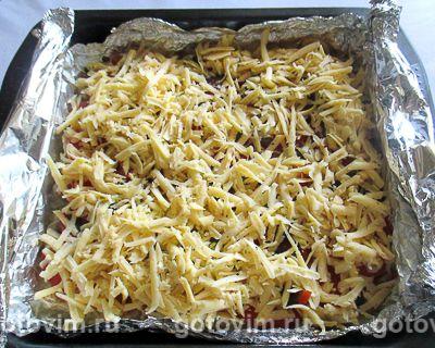 Куриная грудка в духовке с сыром, грибами и помидорами, Шаг 07