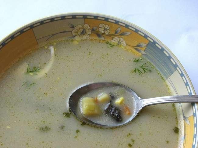 Грибной суп из замороженных лесных грибов
