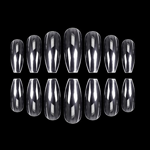 ECBASKET 500Pcs Coffin Nails Clear Nail Tips Full Cover Artificial Nails 10 Sizes