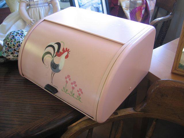 Vintage pink bread box