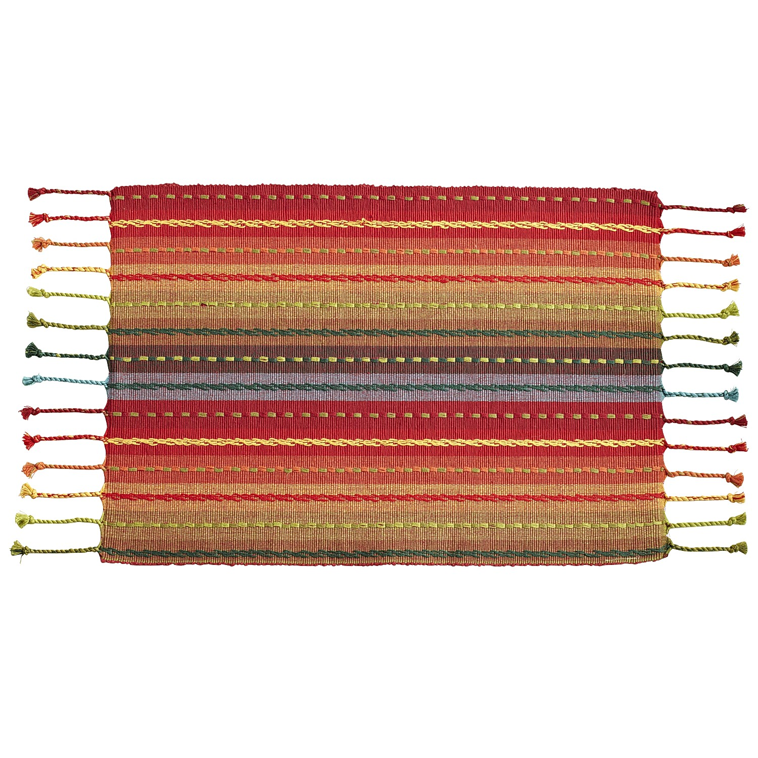 Multi-Striped Placemat with Fringe End