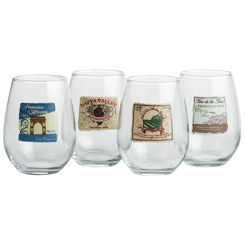 Decorative Stemless Wine Glasses