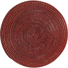 Red Round Rattan Placemat