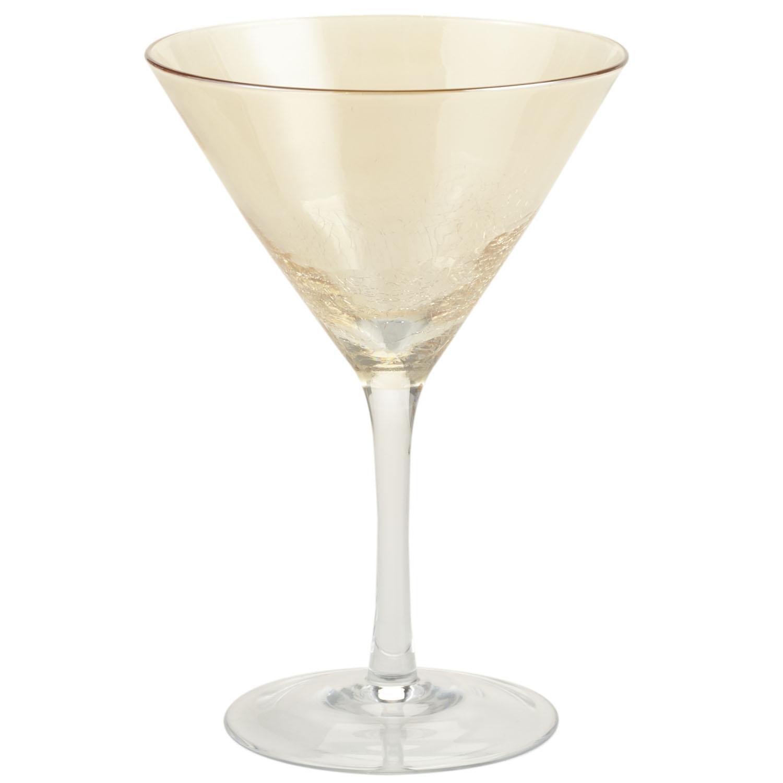 Golden Luster Crackle Martini Glass