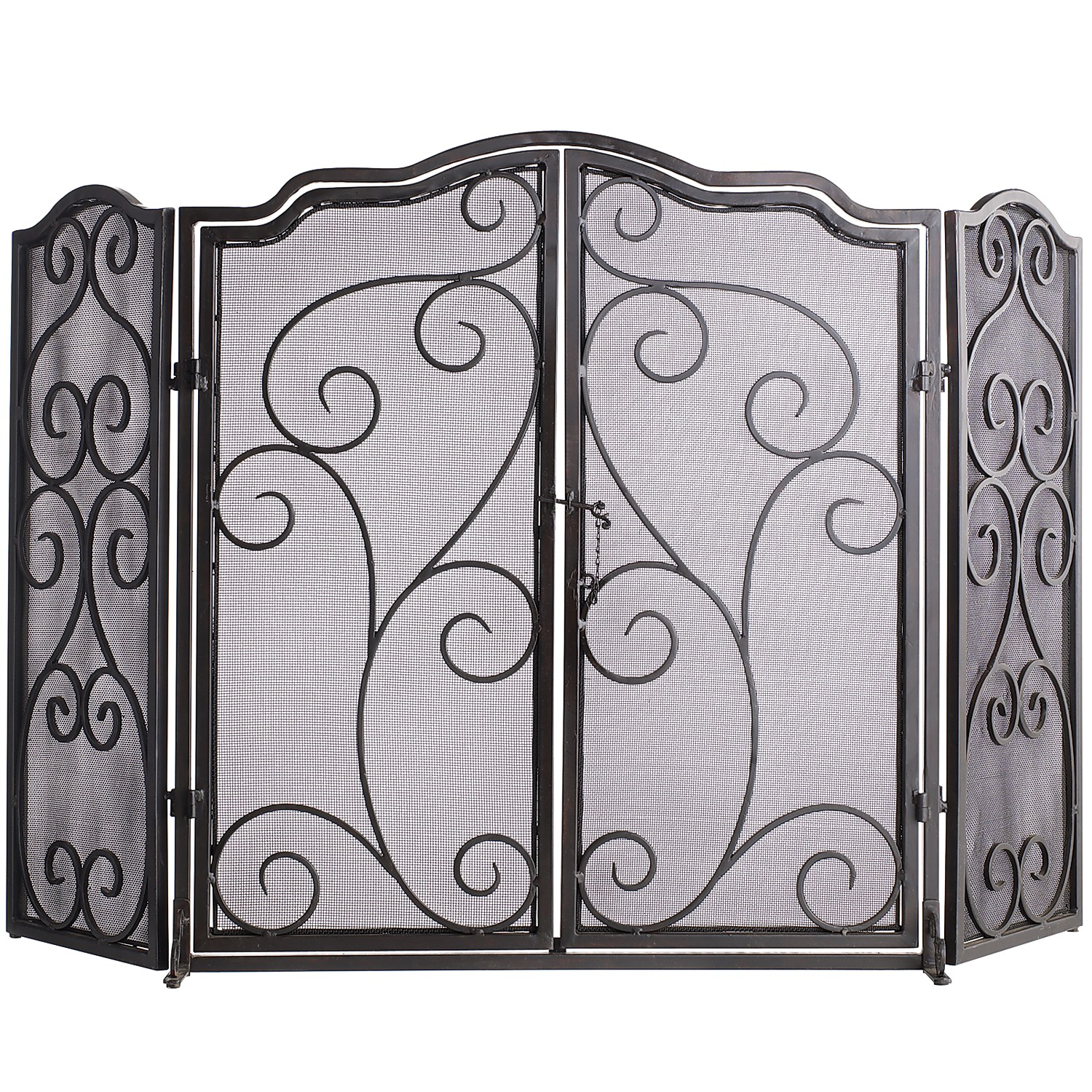 Scroll Triple Panel Fireplace Screen