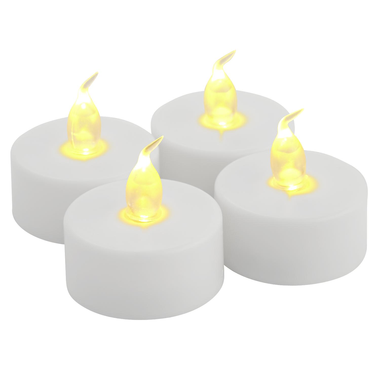 Set of 4 White LED Tealight Candles