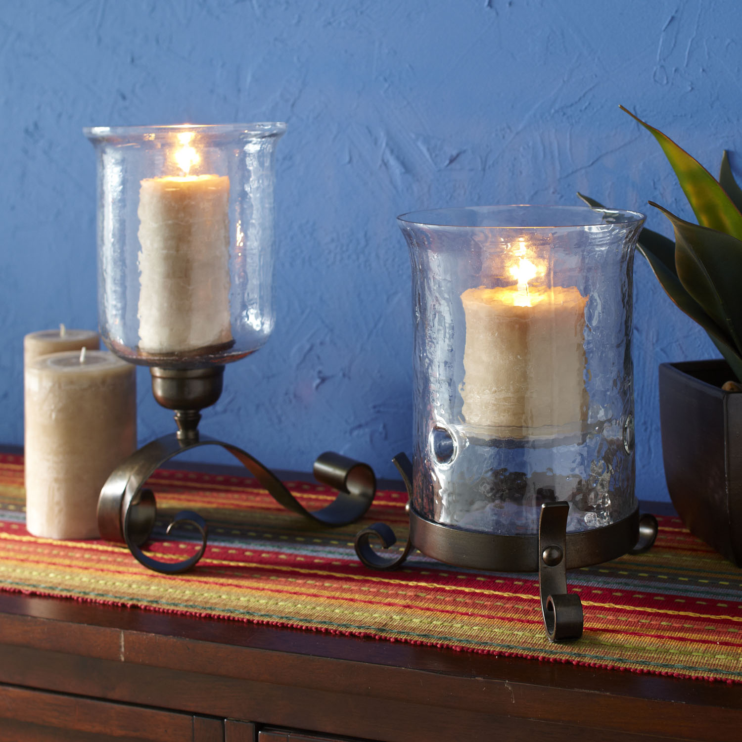 Hammered Glass Hurricane Candle Holder