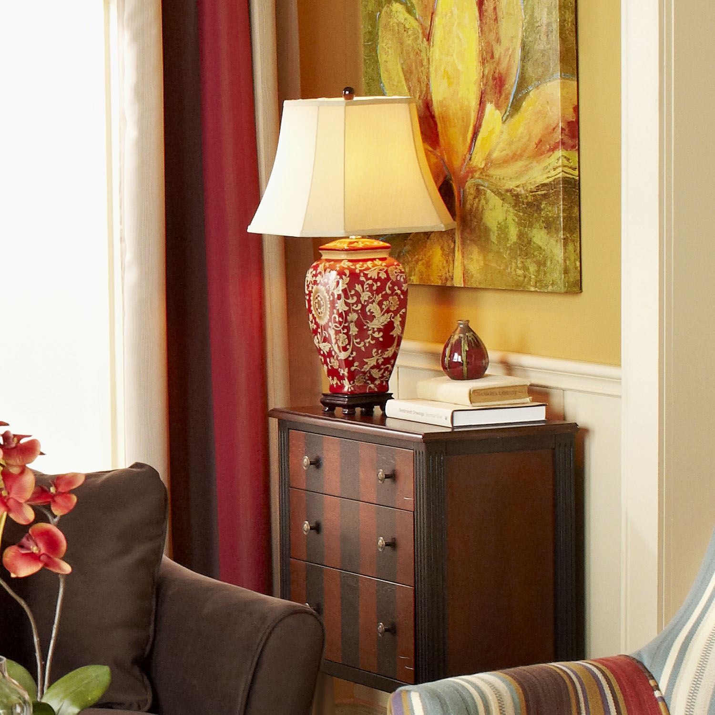 Red Floral Jar Lamp