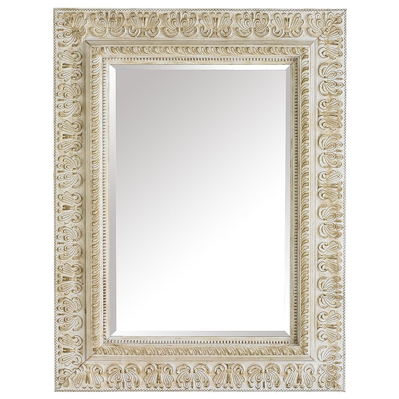 Ivory Embossed Wood 38x50 Mirror