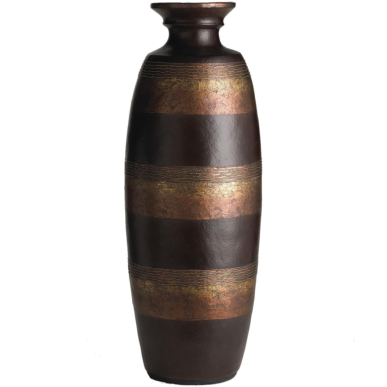 Metallic Stripes Terracotta Urn Floor Vase