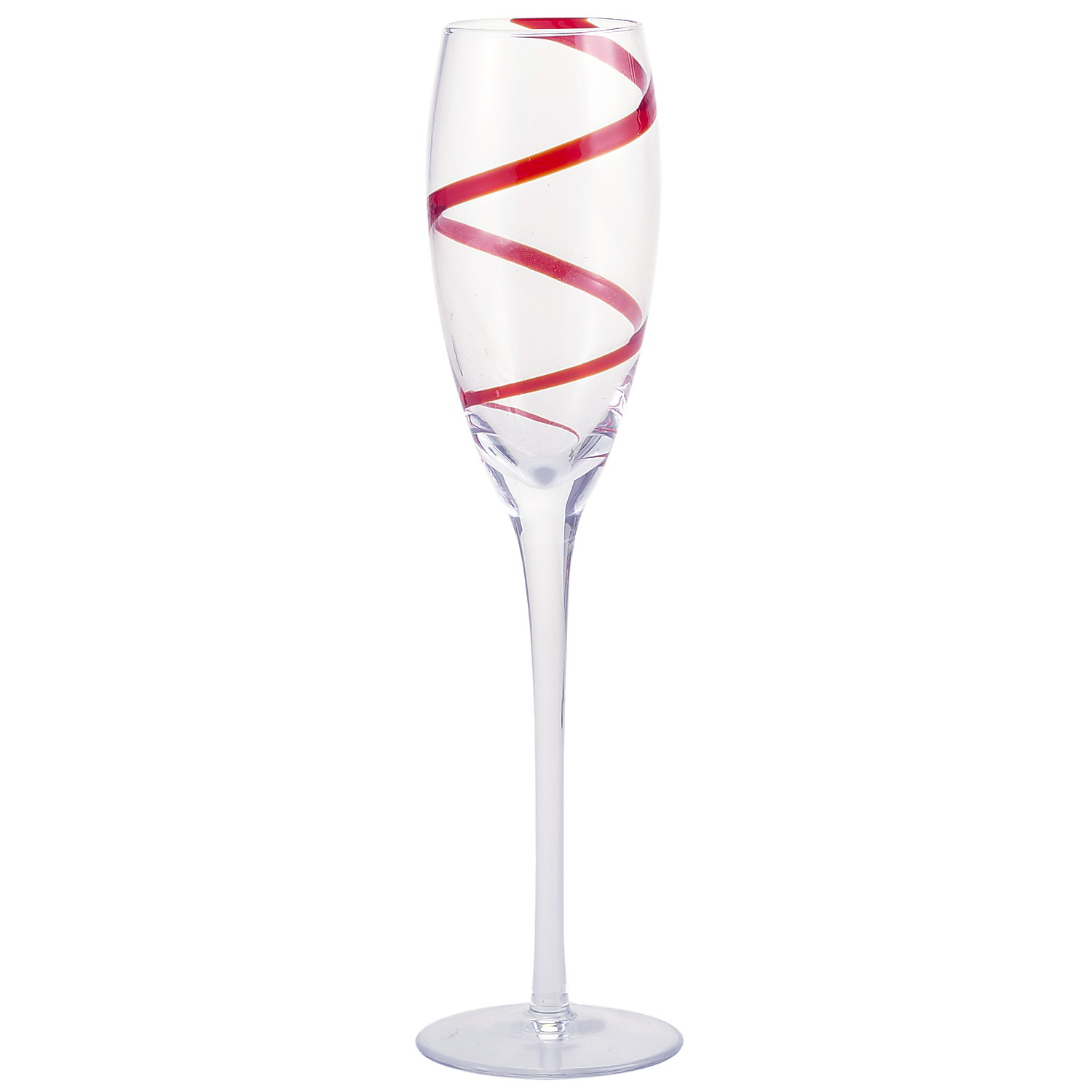 Spiral Line Champagne Flute - Red