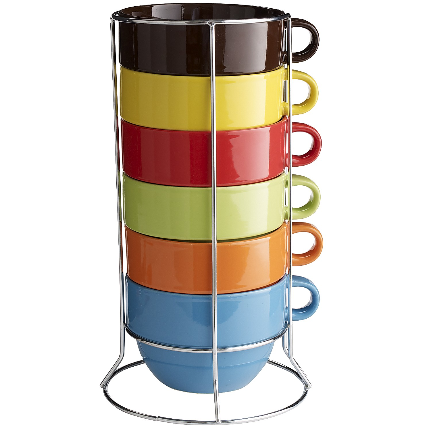 Cafe Au Lait Stacking Mugs Set of 6 with Stand