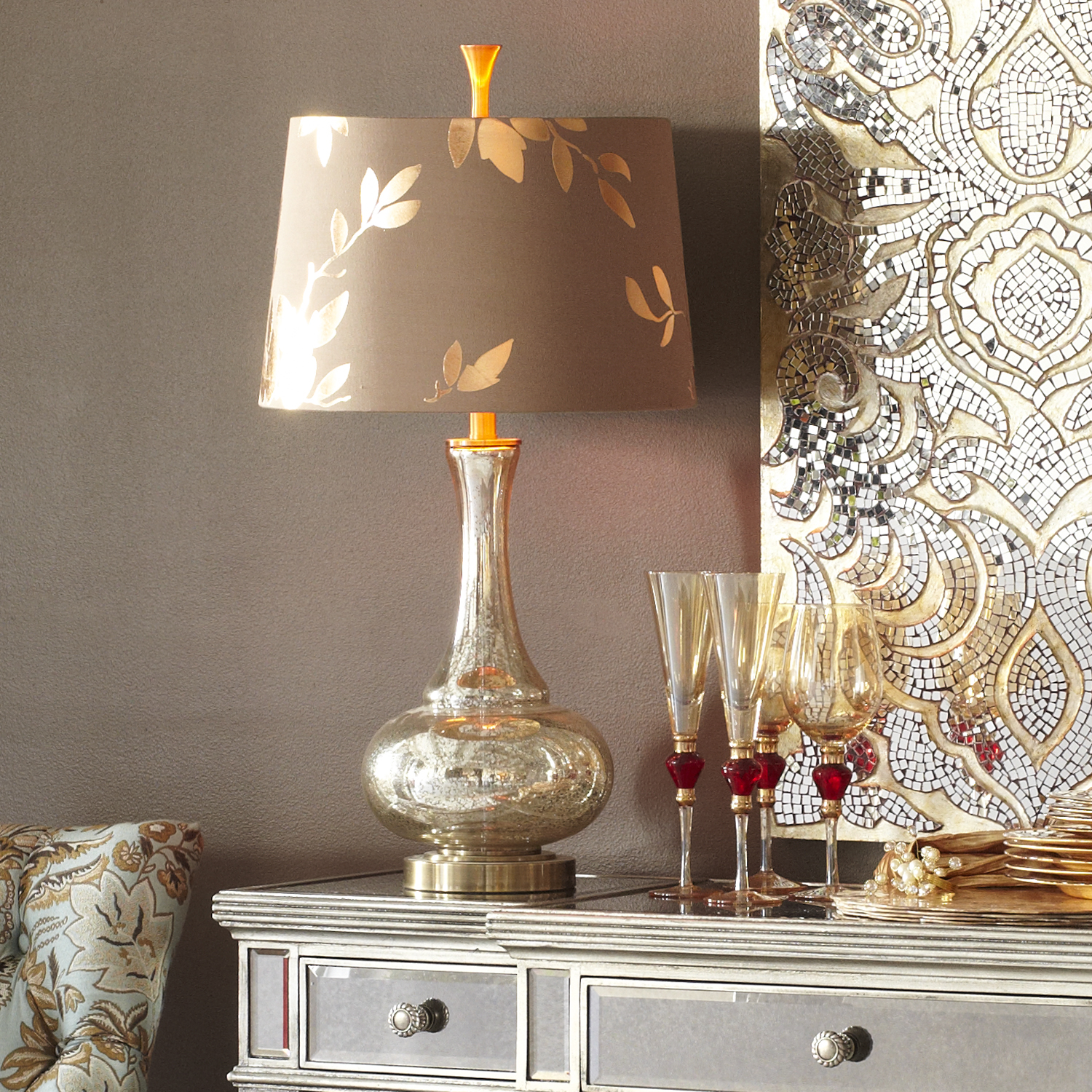 Gold Leaf Glass Table Lamp