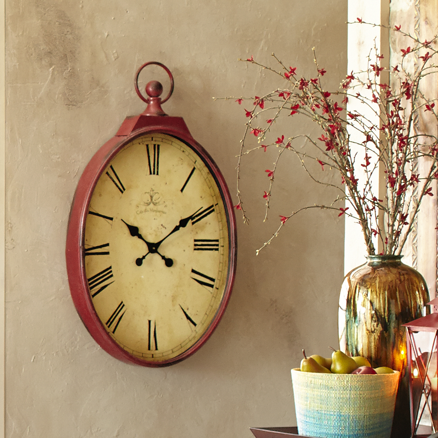 Red Antiqued Wall Clock