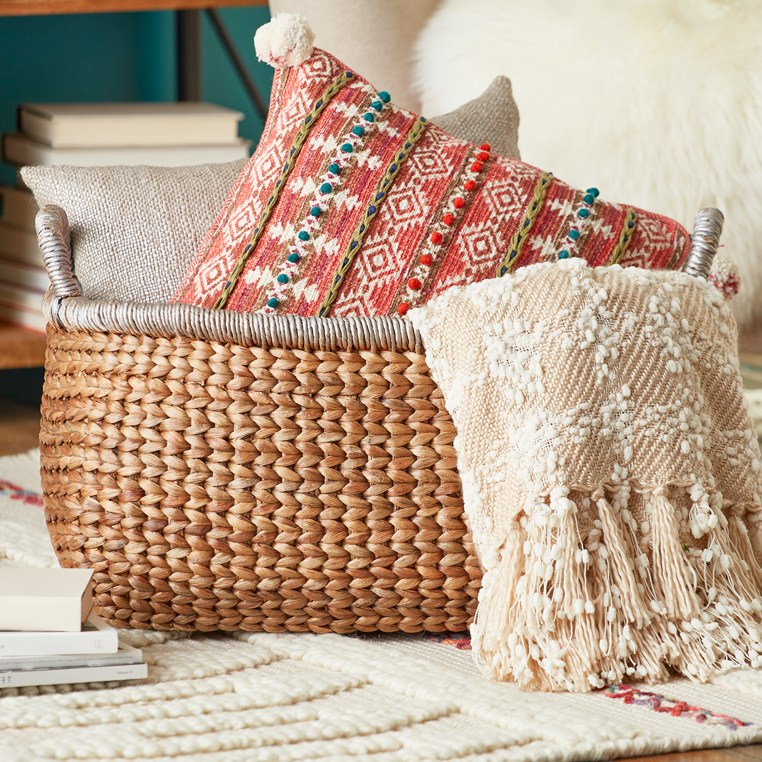 Ivory Knit Checkered Throw