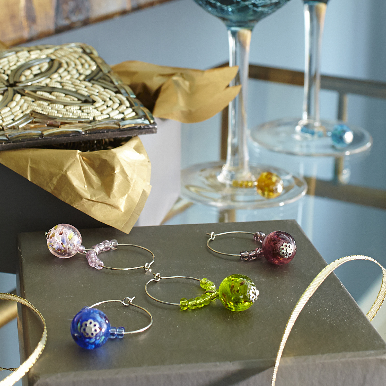 Glass Ball Wine Charms - Set of 6