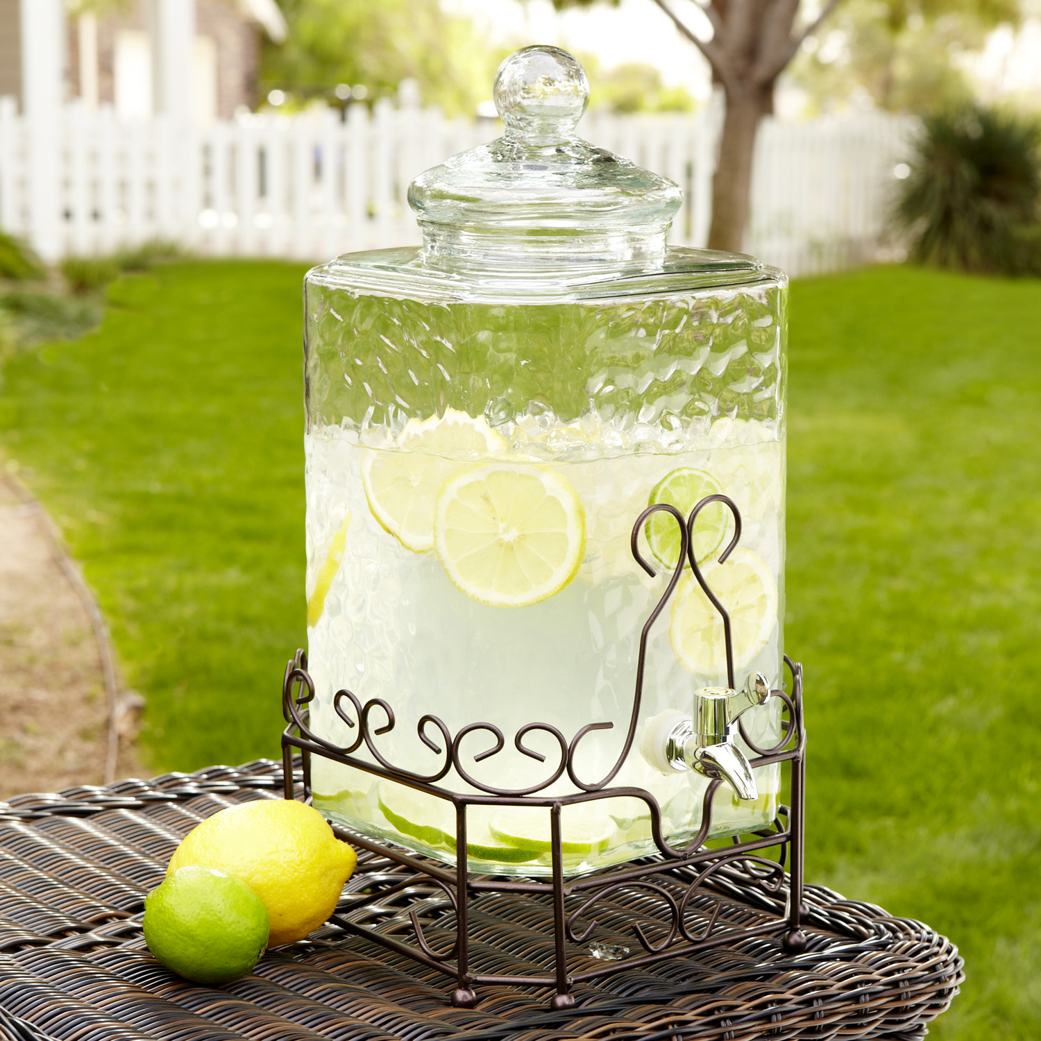 Hammered Glass Drink Dispenser with Stand