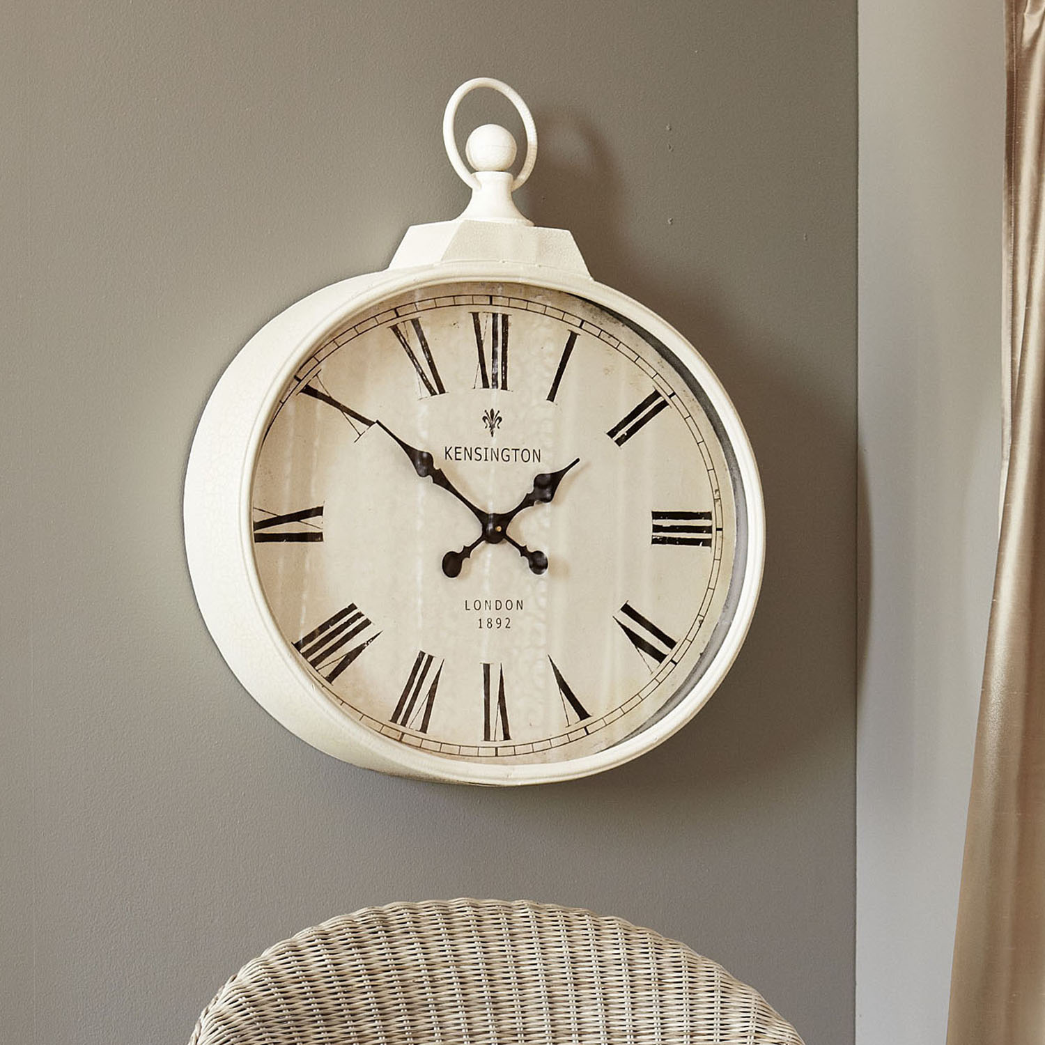 Ivory Antiqued Wall Clock