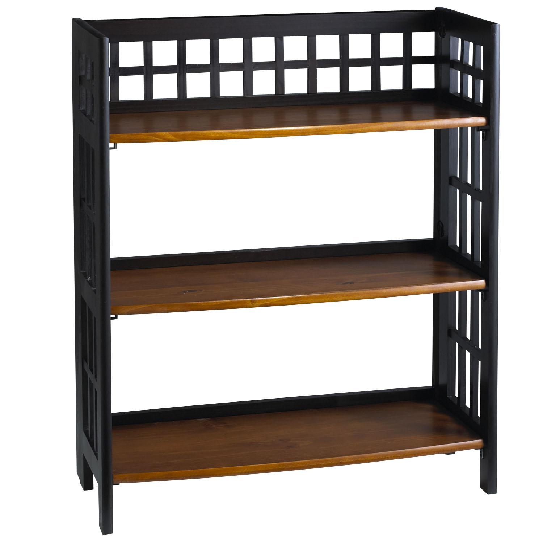 Fretted Rubbed Black Low Folding Shelf